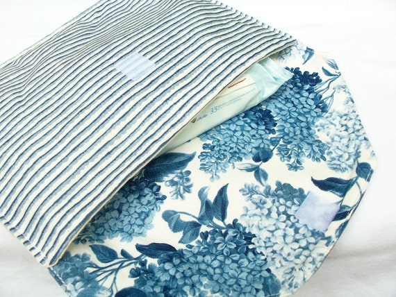 Diaper Clutch Blue White Striped with Floral Interior