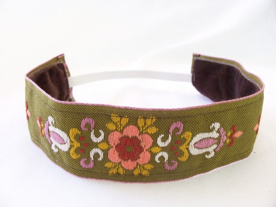 Thick Non Slip Headband SALE Vintage Floral Embroidered Ribbon