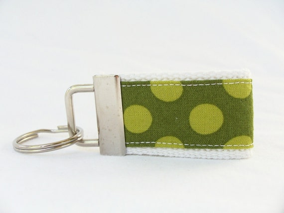 Mini Key Fob with Green Dot Fabric White Webbing (Monogramming Available)