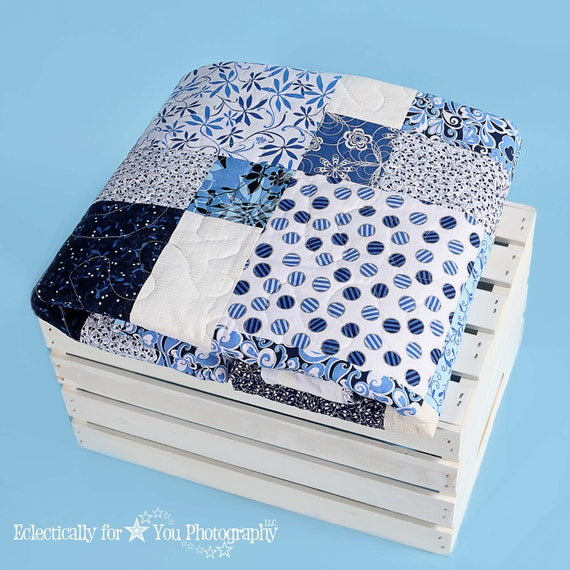 Blue White Quilt, Lap Throw, Scrap Quilt, French County Beach