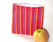 Reusable Sandwich Bag with lines , red, blue and yellow
