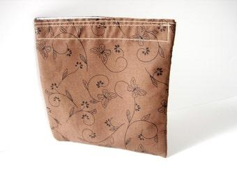 Eco Friendly Reusable Sandwich Bag Butterflies in Brown