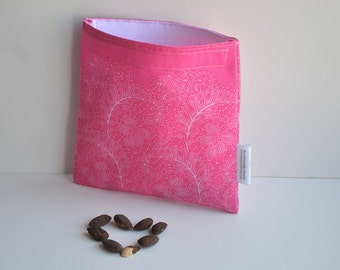 Eco friendly Reusable Sandwich Bag with pink Love Ferns