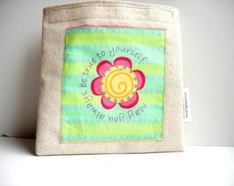 Reusable Sandwich Bag with Applique Colorful May Flower