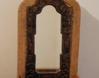 Vintage dresser wicker, wood  mirror