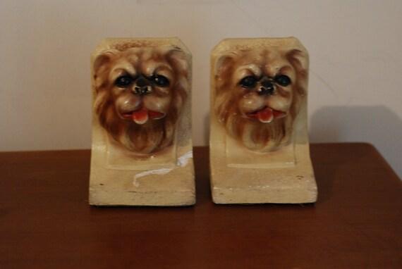 Vintage dog bookends