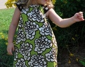 Brown and Lime Green Cap Sleeves Dress