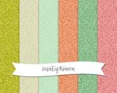 Digital Scrapbooking Paper Pack - Avocado Retro Glitter in Green, Cream, and Orange
