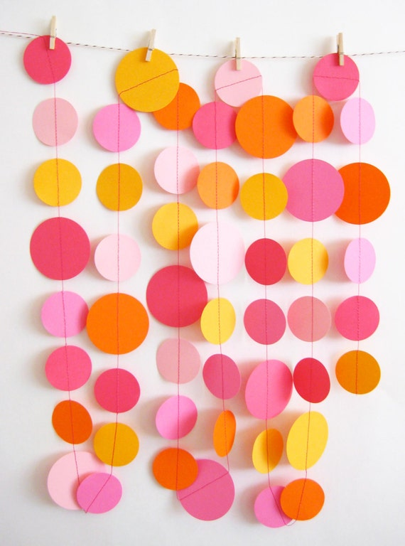 Pink and Orange Paper Garland