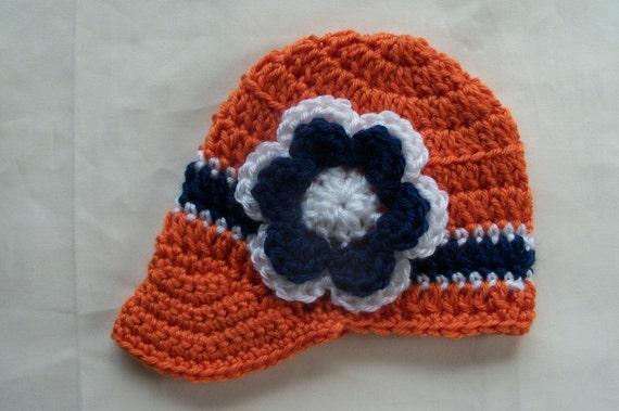 CROCHET HAT - NEWSBOY Style for Girls or Boys in Orange, Navy and White - Denver Broncos - Edmonton Oilers Inspired