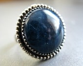 Deep Blue Cocktail Ring, with Round Apatite and Sterling Silver, size 8