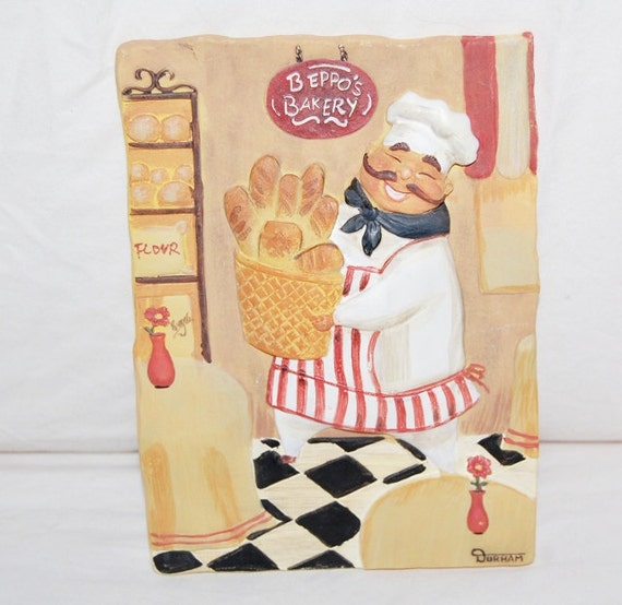 Items similar to vintage chef wall plaque kitchen decor on for Kitchen decor items