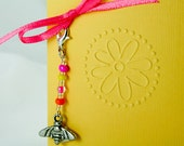 Little Gift Card -Thank You Card - Yellow Gift Tag - Embossed Flower Thank You with Beaded Bee Charm