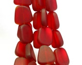 """4"""" / 8"""" str RED 15mm PETITE flat small sea beach glass freeform pebble Beads frosted recycled"""