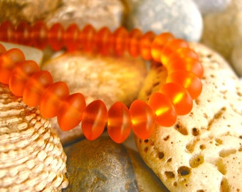 """8"""" saffron yellow 8x5mm sea beach glass rondelle beads frosted recycled matte"""