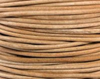2m 5m ( 6.5 / 16 feet) 1.5mm Leather Cord NATURAL natural dye Premium Quality Round matte soft USA