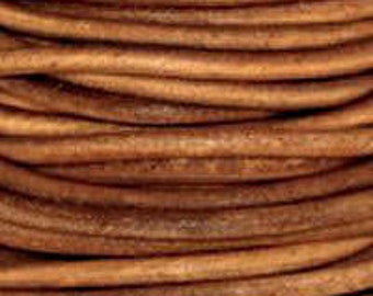 2m / 5m ( 6.5' / 16'  feet) 2mm  Leather Cord light BROWN NATURAL dye Premium Quality Round soft USA