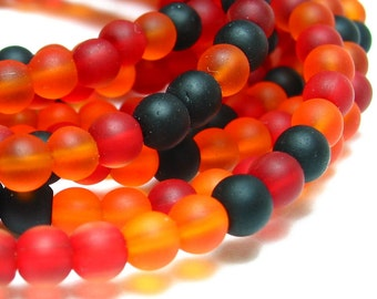 "1 / 2 str 8"" RED LADY BUG mix 4mm sea beach velvet glass beads matte frosted small round"