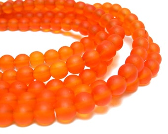 "1 / 2 str 8"" Tangerine Red 4mm orange sea beach velvet glass beads matte frosted small round"