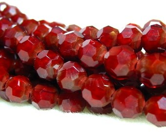 """8"""" (37pcs) RUBY RED 6mm designer crystal round Beads faceted glass"""
