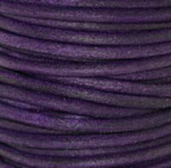 2m 5m ( 6.5 / 16 feet)  2mm Leather Cord NATURAL VIOLET Premium Quality Round soft lead free USA