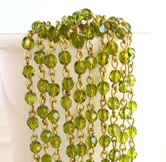 """3 feet olivine green 4mm Czech Fire Polish faceted glass linked Bead raw Brass rosary chain 36"""""""