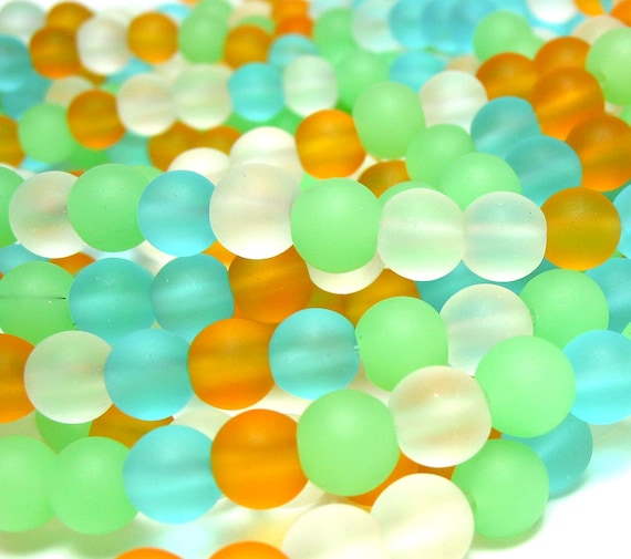 "8"" (35pcs) SPRING FIELDS yellow green mix 6mm sea beach velvet glass beads matte frosted small round"