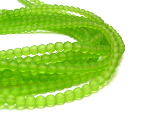 "1 / 2 str 8"" Lime Green  4mm sea beach velvet glass beads matte frosted small round"