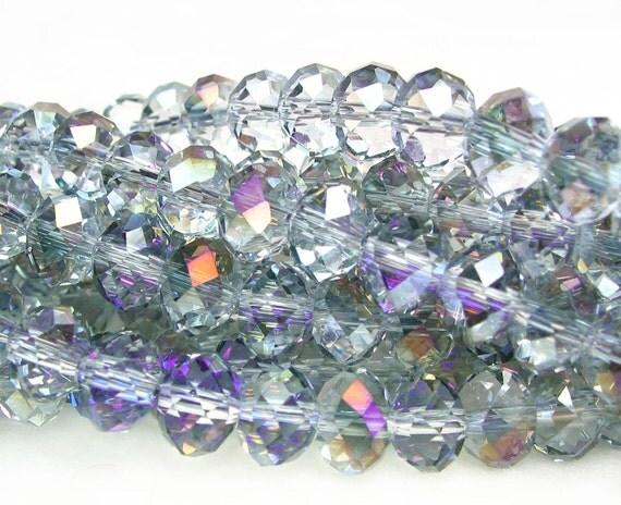 "8"" 36pcs PURPLE AB 8x5mm Half Heliotrope semi transparent designer glass rondelle Beads faceted crystal"