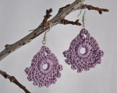 Lavender Crochet Lace Earrings - TREASURY ITEM