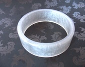 Resin bangle bracelet in white silver ice grey metallic pearl broad chunky style