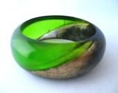 Green Resin Bangle Bracelet Jewelry , Emerald , Gold , Black , Handmade , Medium Size , Bracelet , Fat Cuff Domed Bangle Geometric Diagonal