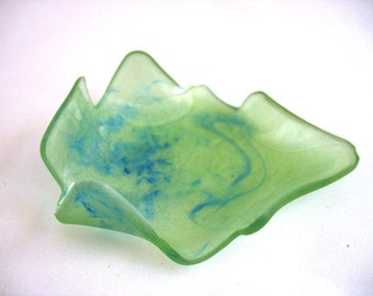 lime green swirl resin homeware bowl plate , shimmery apple green curled leaf resin small bowl dish soap catch all dish