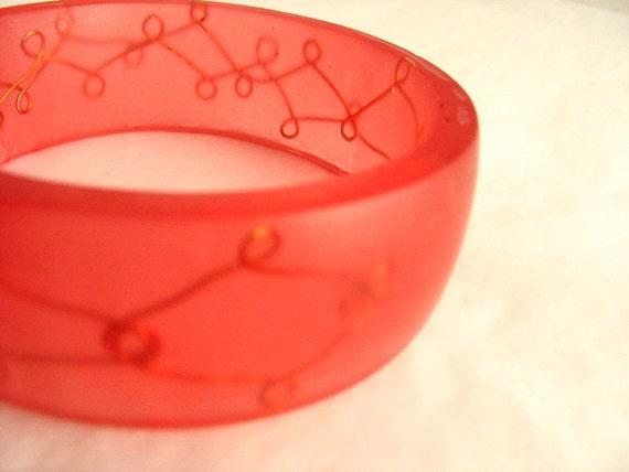 Red Resin Bangle Bracelet Jewelry , Red Orange Resin Bracelet Bangle , Woman Copper Scroll Wire Loop , Bangle Designer Jewelers
