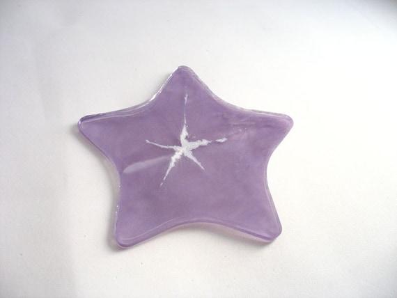 Christmas ornament resin lilac purple star plastic hanging tree decoration white handmade Australia flat lightweight unique