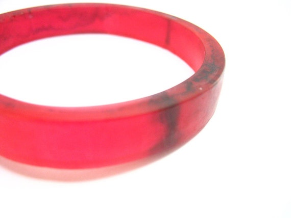 Large Red Resin Bangle Plus Size Bracelet Jewelry , Big rani  Resin Bangle , Cherry Red Black Swirls Matte Opaque Bespoke women plastic