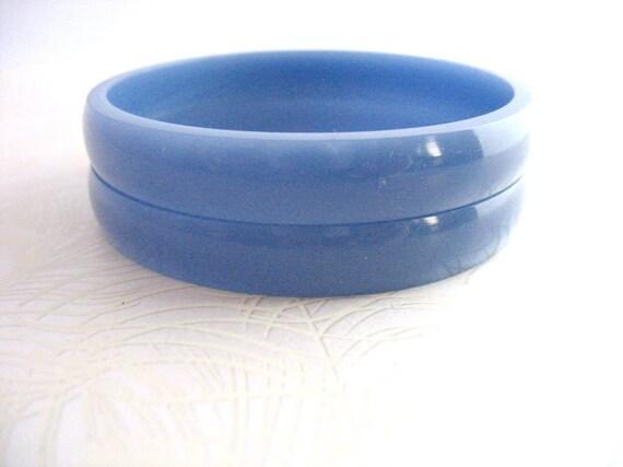 Blue Resin Bangle Bracelet Jewelry , Stack Resin Bangle , Set Dusky Blue Violet Lilac Pair Medium Size Thin Sleek Modern Hand Wrist Arm