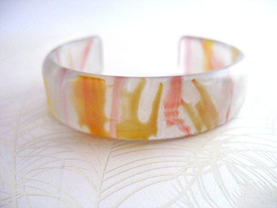 Handmade Resin Bangle Bracelet Cuff Jewelry , Pale Silver White Yellow Strawberry Stripes Medium Size Curved The Bangle Bracelet Delicate