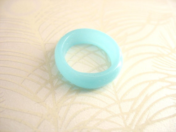Pale Blue Resin Ring Jewelry , Skinny Stacking Resin Ring , Sky Blue Aquamarine Round Duck Egg Stack Matte Finish US Ring Size 10 Australia