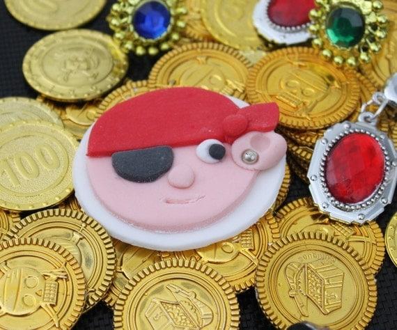 24 EDIBLE FONDANT SUGAR PIRATE CAKE TOPPERS