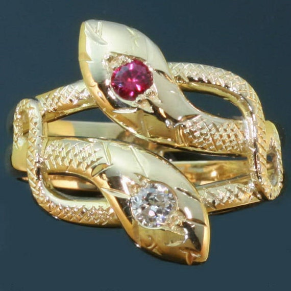 Victorian intertwined snakes ring with diamond and ruby