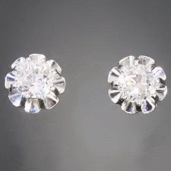 RESERVED For Tatiana - Art Deco diamond earrings white gold post studs vintage jewelry 1920s Ref.07353-0766
