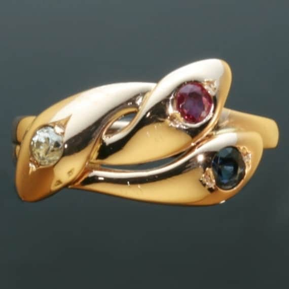 Antique three head snake ring precious stones Victorian era