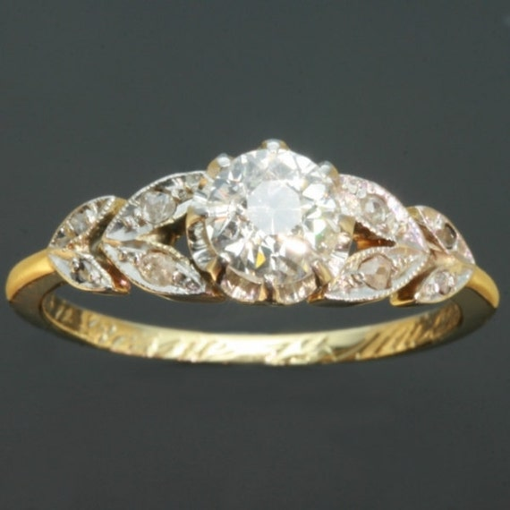 RESERVED Belle Epoque diamond flowery engagement ring 18K gold