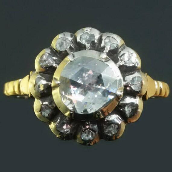 RESERVED Big vintage rose cut diamond engagement ring