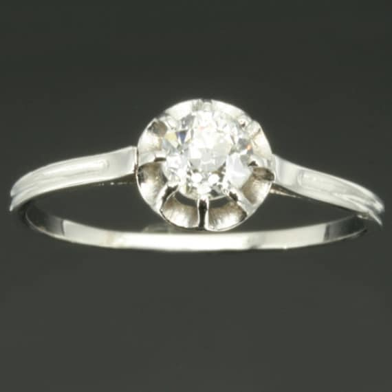 Vintage French platinum diamond engagement ring from France
