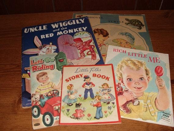 "Five Vintage Childrens Books, Uncle Wiggily, 1940's & 1950""s."