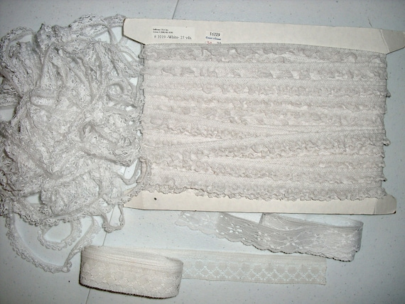 Yards of White Lace, Gathered and Flat
