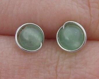 Tiny Green Aventurine Stud Earrings (5mm), Gemstone Stud Earrings, Wire Wrapped Sterling Silver Stud Earrings, Mini Aventurine Stud Earrings