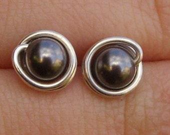 Dark Grey Pearl Stud Earrings (7mm), Swarovski Pearl Stud Earrings, Wire Wrapped Sterling Silver Stud Earrings, Dark Gray Stud Earrings